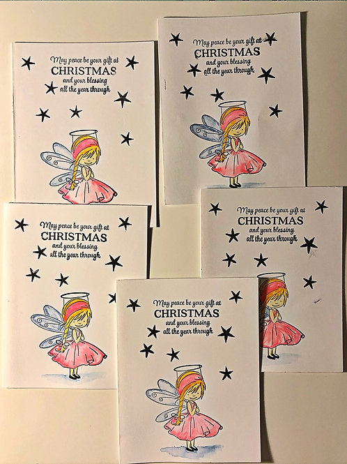Little girl angel Christmas greeting card set.