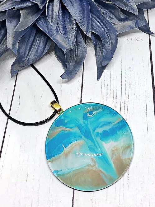 Ocean theme pendant, Blue and tan pendant, statement pendant