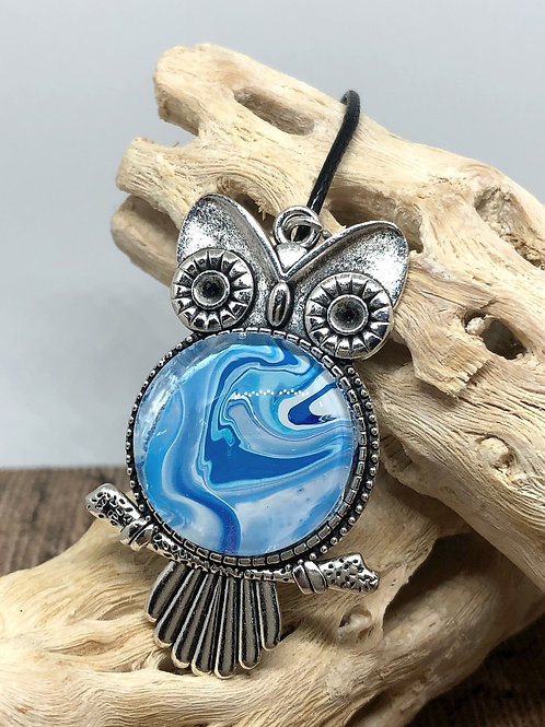Blue and white owl pendant