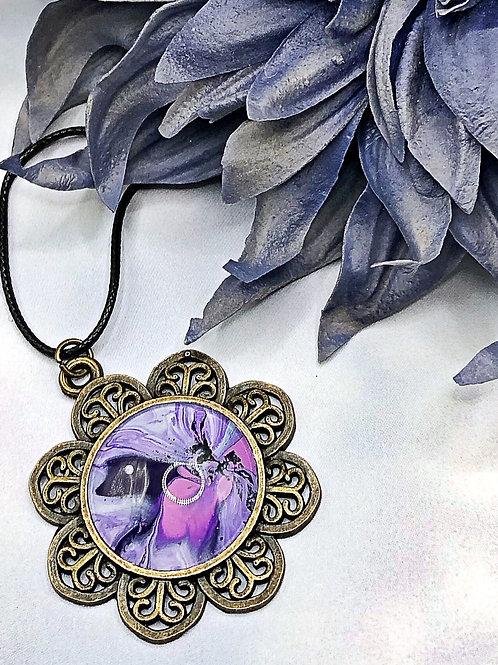 Purple blossom flower pendant.
