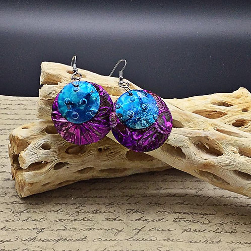 Purple and Blue Aluminum Earrings.  Alcohol Ink Earrings.