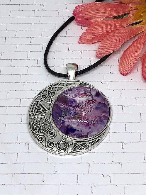 Purple celtic moon pendant.  Celtic moon pendant.  Moon pendant.