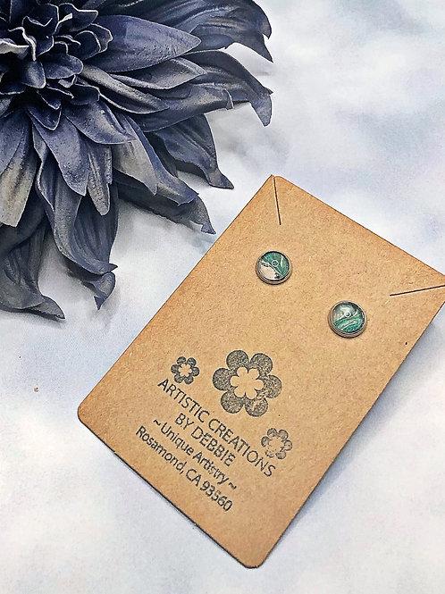 Green 8mm earrings