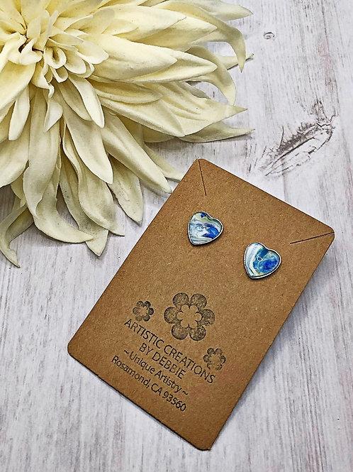 Blue and white heart earrings.