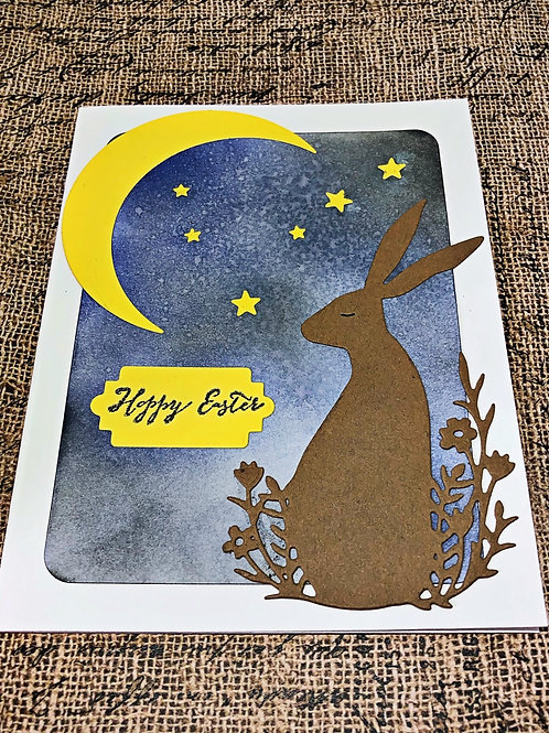 Sleepy Brown bunny easter card set.  Set of 4.