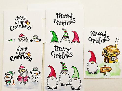 Santa and Gnome mixed greeting card set.
