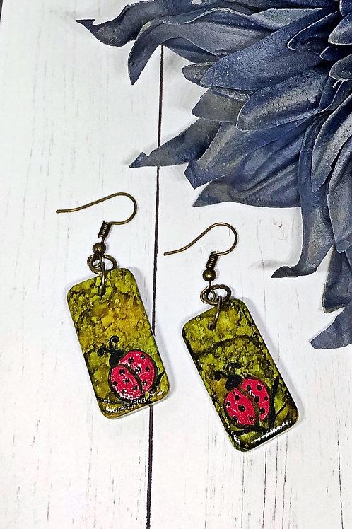 ladybug earrings, lady bug earrings, earrings.