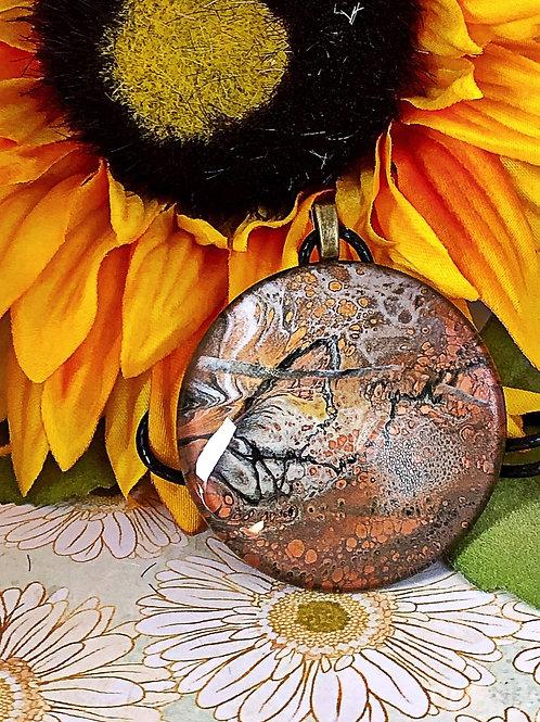 Black, silver and copper statement pendant