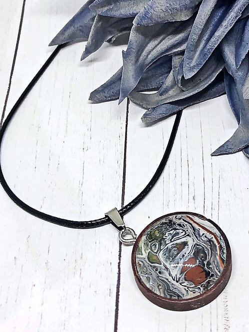 Brown and white Pendant, Wood pendants