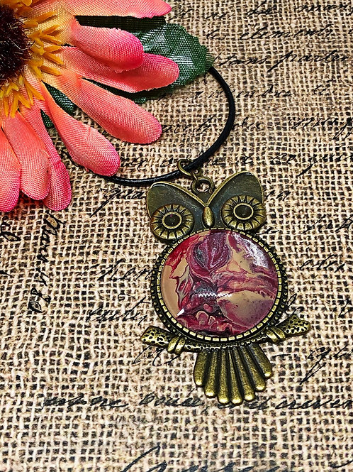 Owl Pendant.  Brown and Maroon pendant.