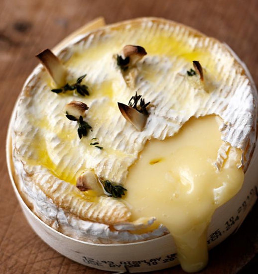 Camembert studded with garlic & rosemary, Barra Gallega Baguette £7.50