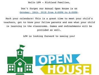 Annual Open House Alert!