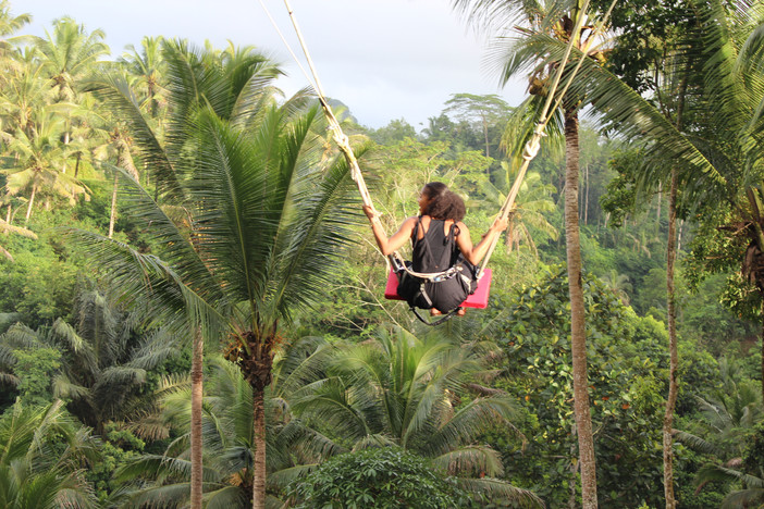 See how my mouth is open and hands tightly clenching the rope. | Bali Swing