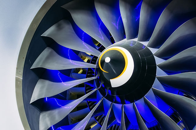 Airplane engine and blades with blue bac