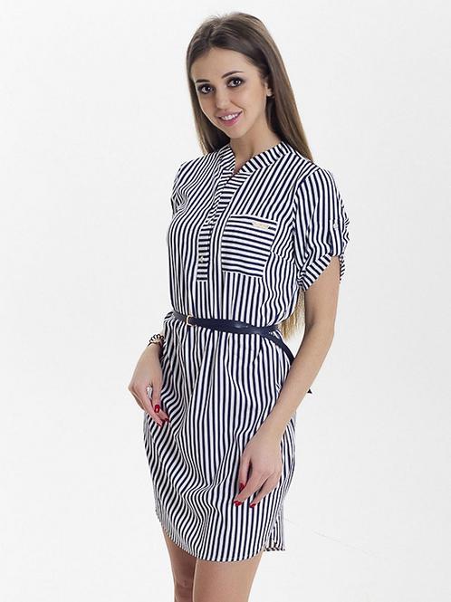 Женское платье атласное белое в темно-синюю полоску