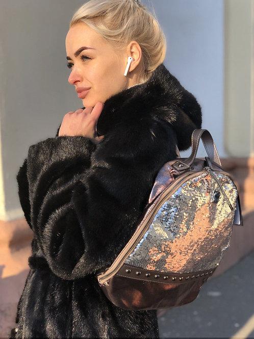 Модный женский рюкзак с пайетками