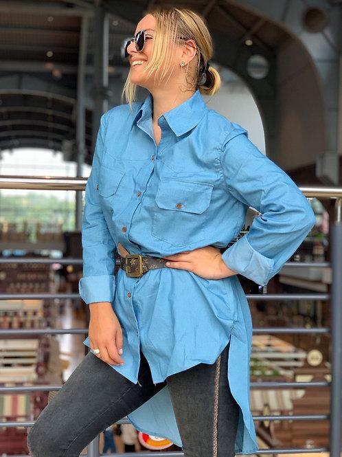 Джинсовая рубашка асимметричного кроя
