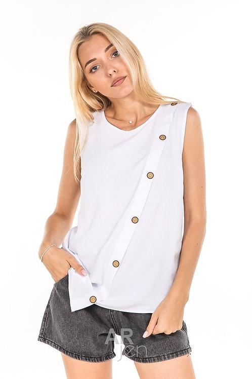 Блуза без рукавов с асимметричными краями