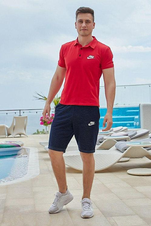 Мужской летний костюм Nike футболка поло и шорты
