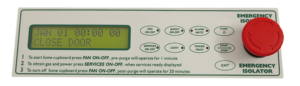 fume cupboard control v4 | Intelec Systems - backlit LCD display with dual sash sensor for double sash fume cupboards