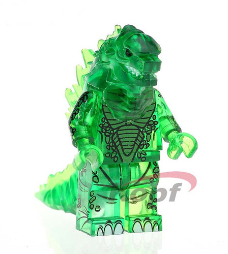 clear green godzilla monster horror minifigure