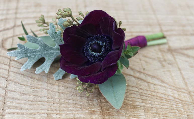 Purple Anenome buttonhole