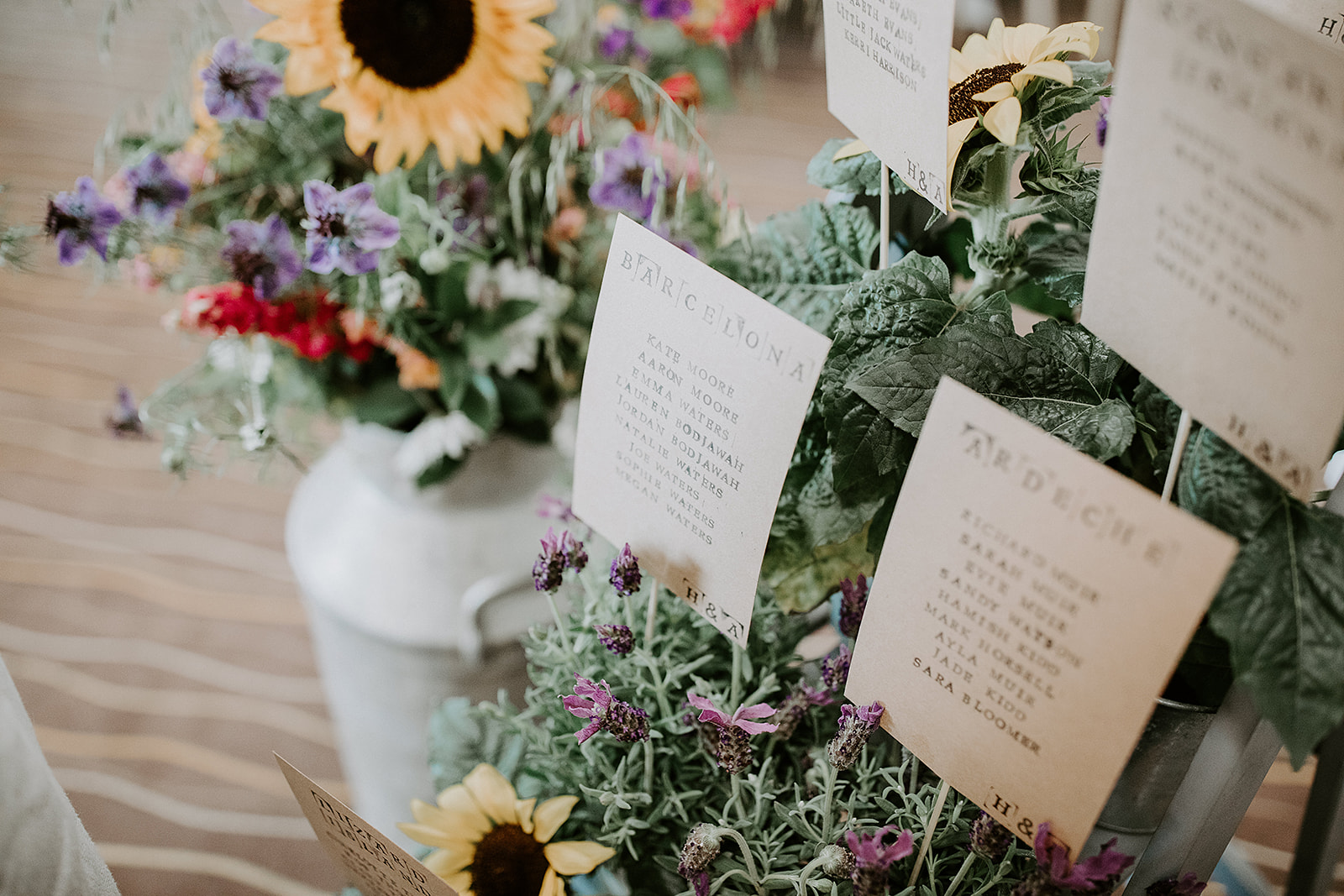 Sunflower and lavender table plan