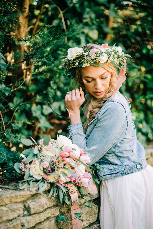 Floral crown and boho bouquet