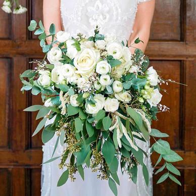 Boho white and green cascade bridal bouquet