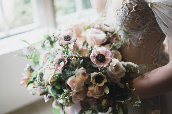 Muted pastels and chalky pinks bridal bouquet