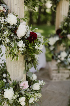 Floral garland for outdoor wedding