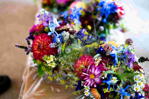 Bridesmaids bouquets in blues and pinks