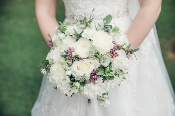 Crisp white rose bridal bouquet