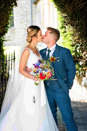 Bright flower bridal bouquet