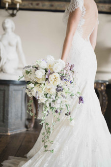 Natural cascade bouquet in white and lavender