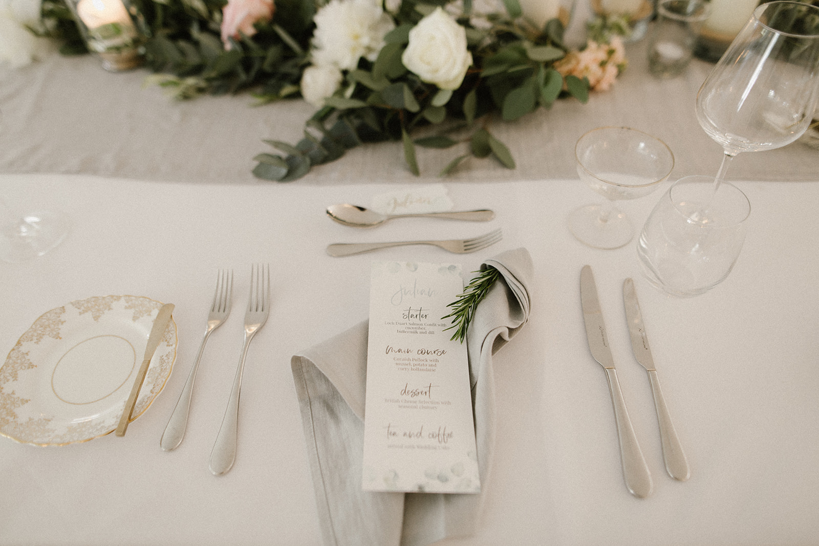 Grey napkins and rosemary