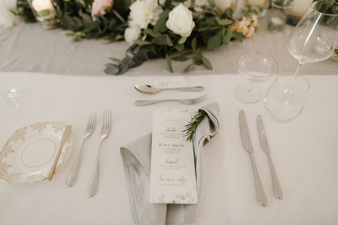 Grey napkin and rosemary