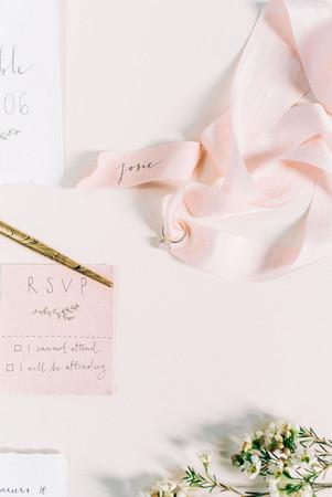 Blush silk and modern calligraphy