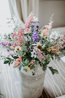 Milk churn of locally grown flowers