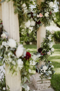 Floral garlands in blush, white and burgundy