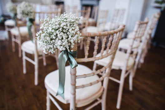 Baby's breath chair posy with sage satin ribbons