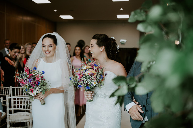 Blushing brides and bouquets