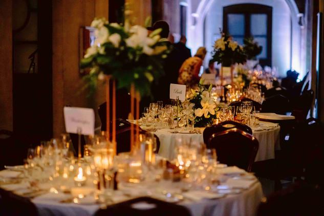 Twilight wedding reception at the Roman Baths