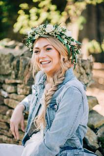 Boho floral crown and denim