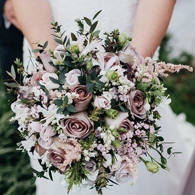Lilac-grey hand-tied bridal bouquet