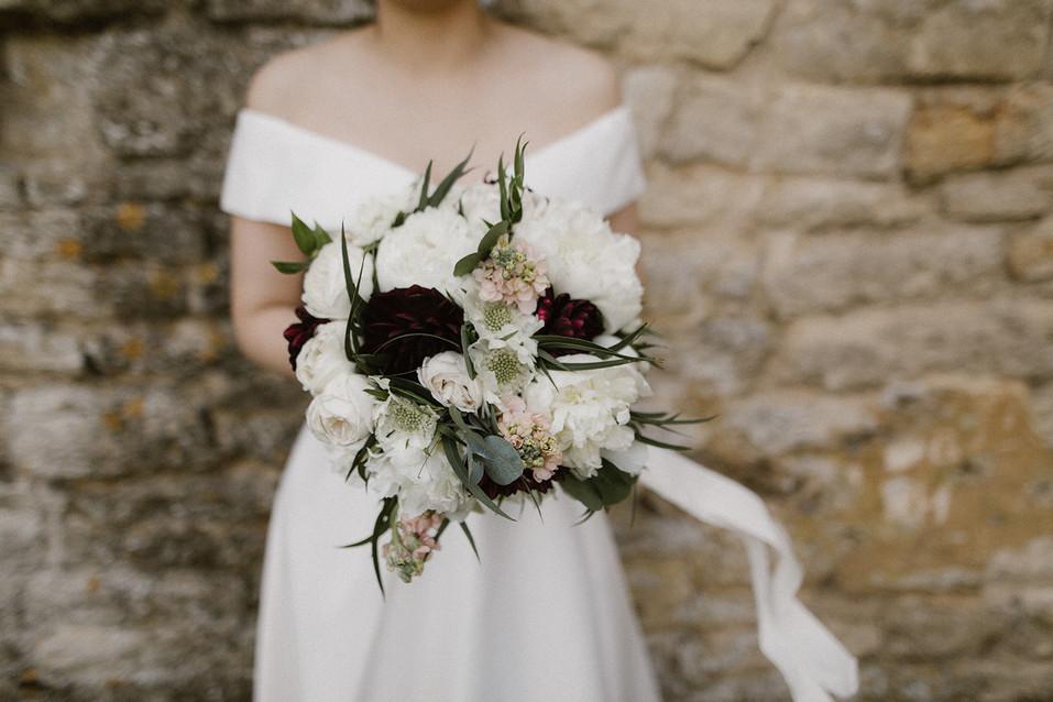 Boho bridal bouquet blush pink and white