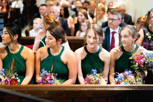 Bright bridesmaids bouquets