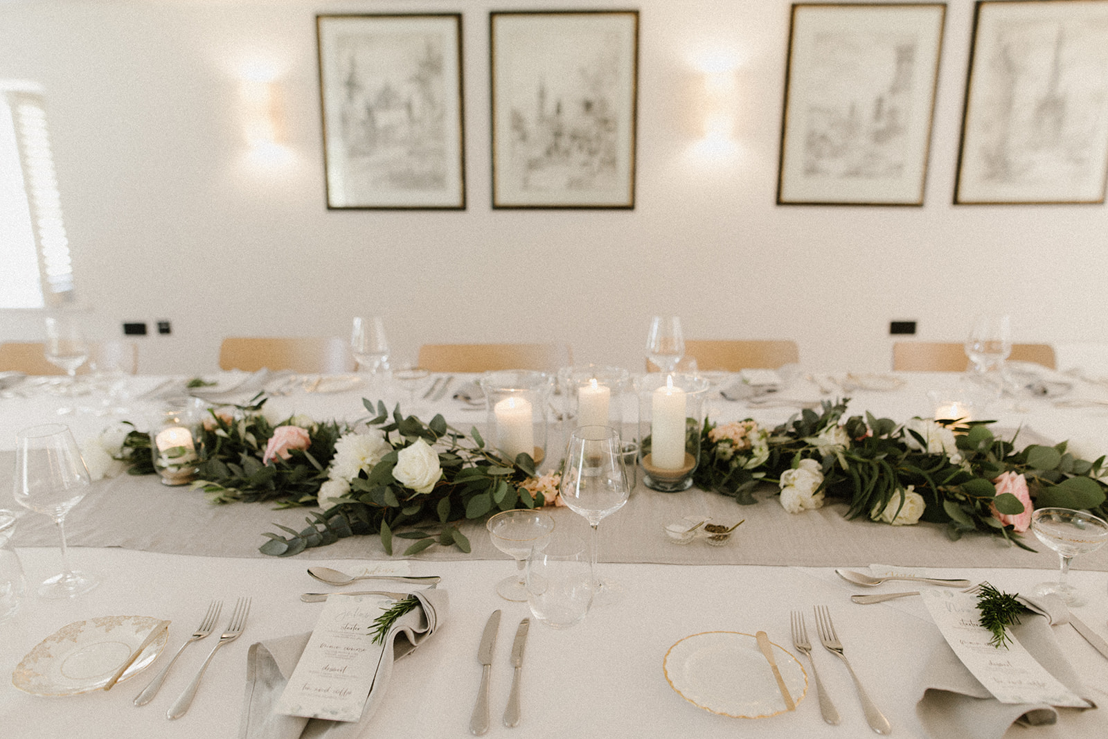 Intimate wedding breakfast