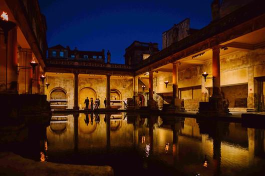 Roman baths wedding at night