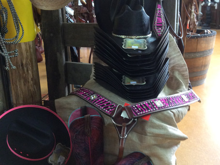 Stand out with black and pink theme - hat and boots for you and breastplate and bridle for your hors